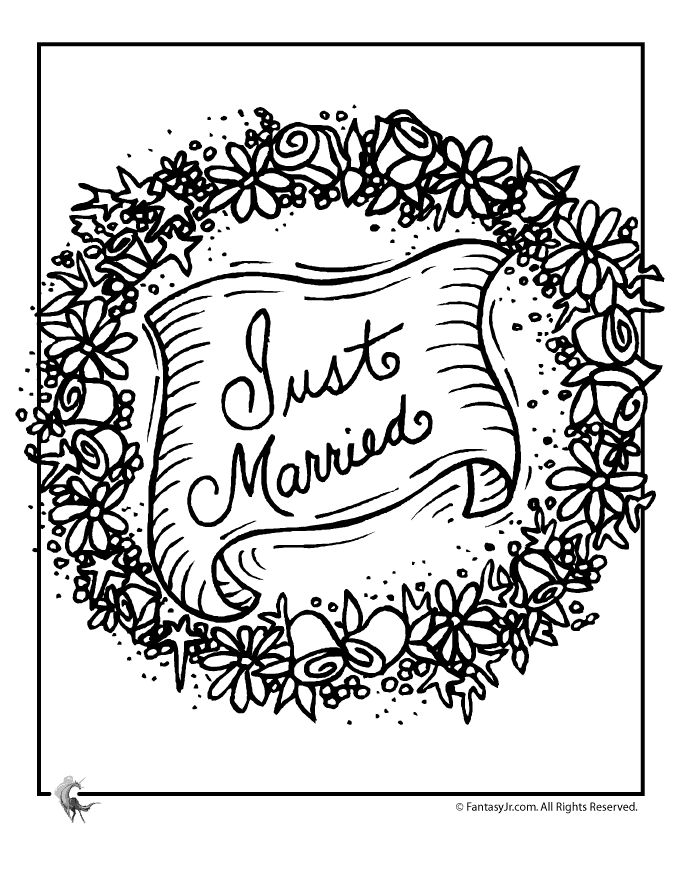 just married wedding coloring page  coloring sheets