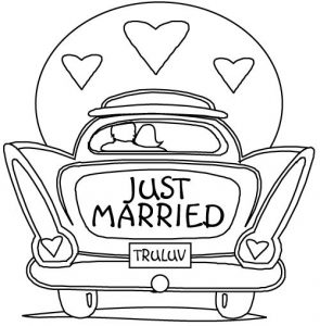 Just married wedding coloring pages 001