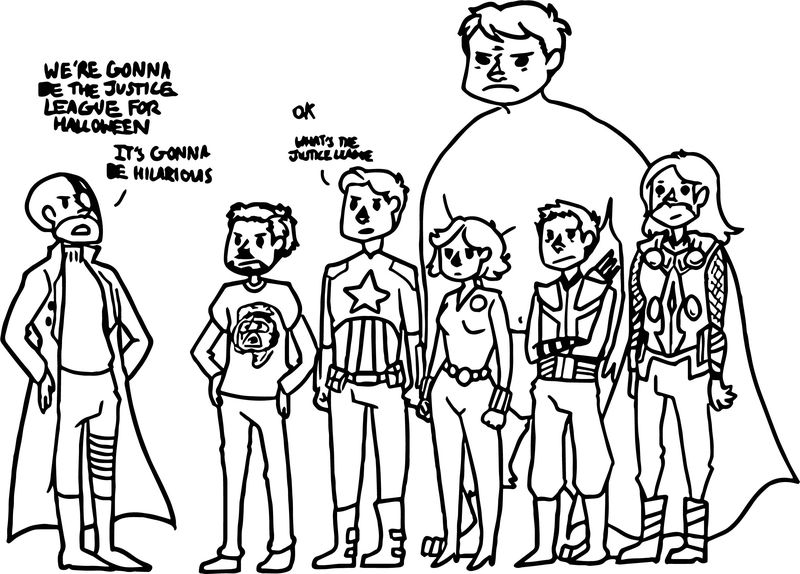 Justice League Avengers Cartoon Coloring Page