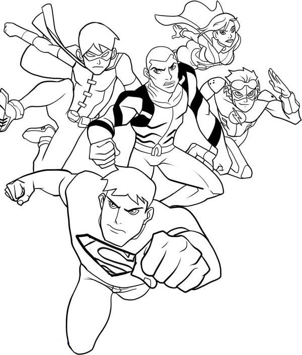 Justice League Coloring Page Characters 001