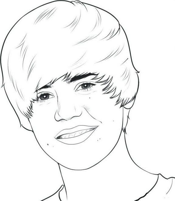 Justin Bieber Full Face Coloring And Drawing Picture
