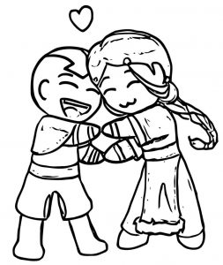 Katara loves aang envious chiko avatar aang coloring page