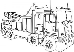 Kenworth wrecker fire truck coloring page