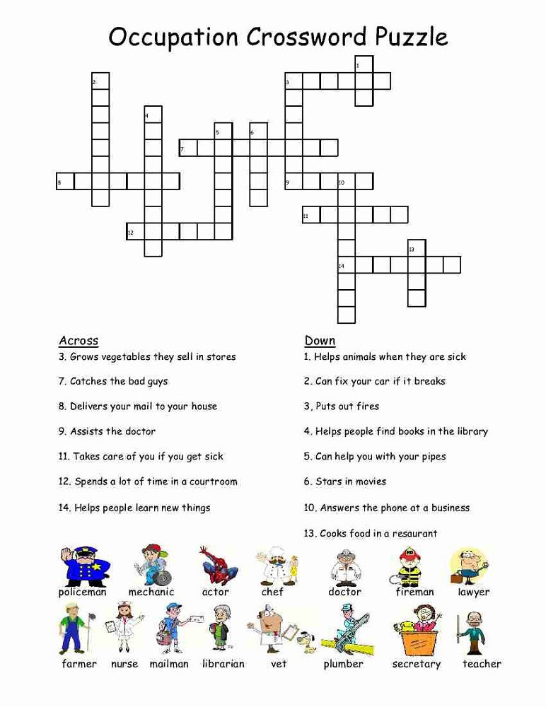 Kid Crossword Puzzles Occupation
