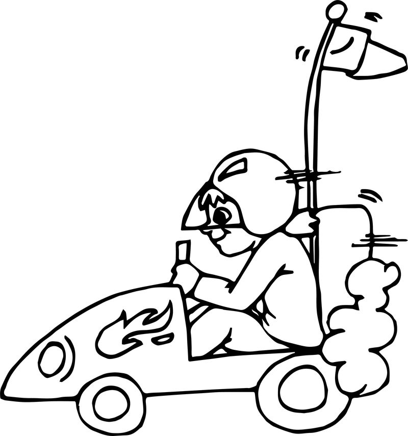 Kid Driving Small Race Car Coloring Page