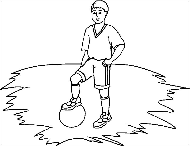 Kid Football Player Playing Football Coloring Page