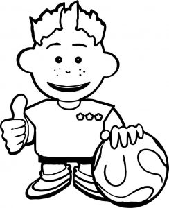 Kid soccer playing football coloring page