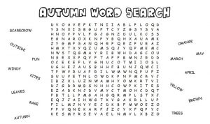 Kid word search autumn