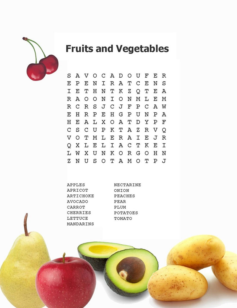 Kid Word Search Puzzles Fruits