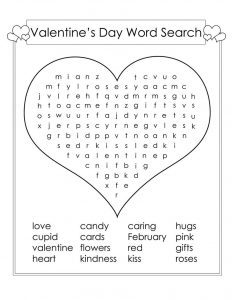 Kid word search puzzles valentine