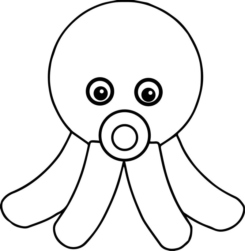 Kids Cartoon Octopus Coloring Page