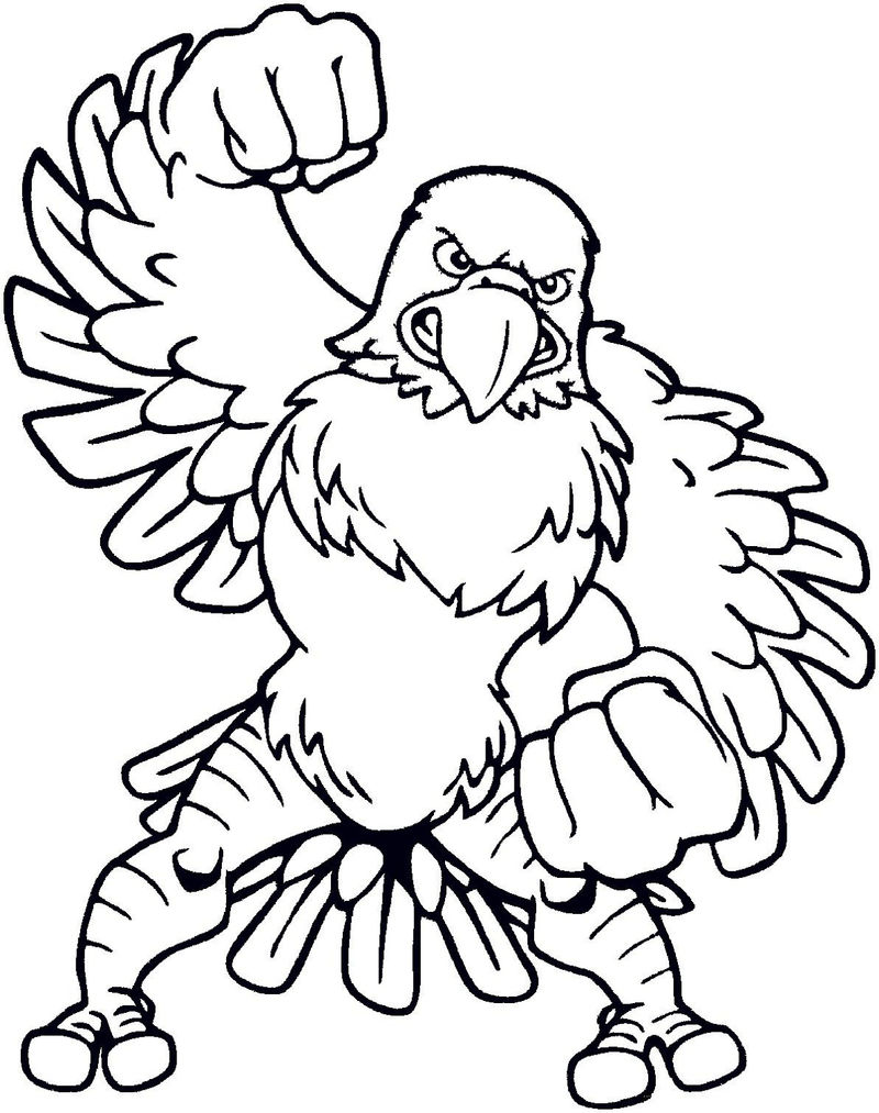 Kids Coloring Page For Football Eagles 001