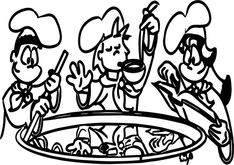 Kids Cooking Color Coloring Page