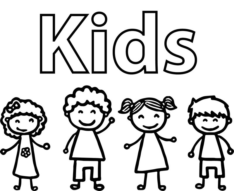 Kids Drawing Free Coloring Page