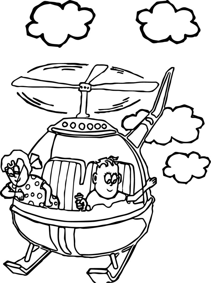 Kids Fly Helicopter Coloring Page Coloring Sheets