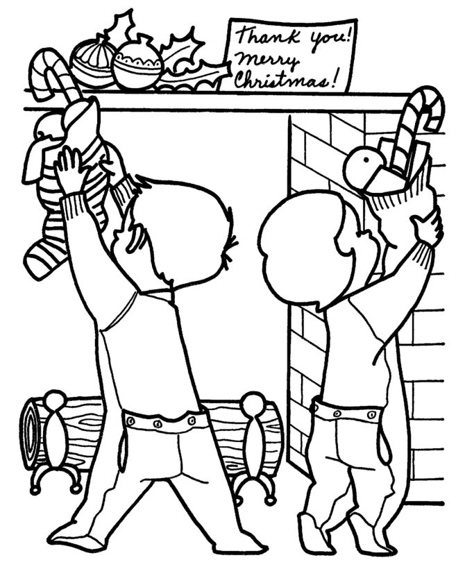 Kids Hanging Christmas Stocking Coloring Page 001