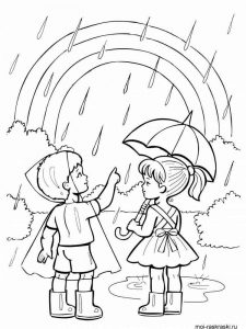 Kids in rain coloring page