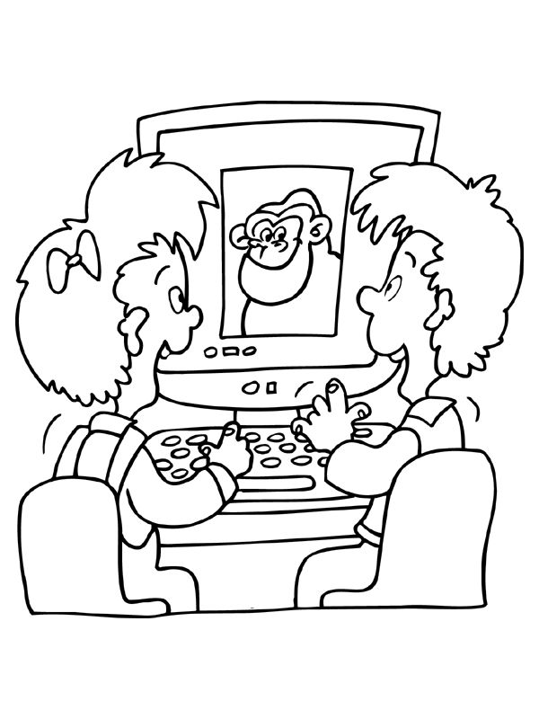 Kids On Computer Coloring Pages 1