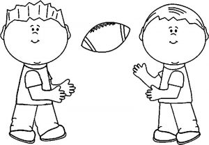 Kids playing american football coloring page