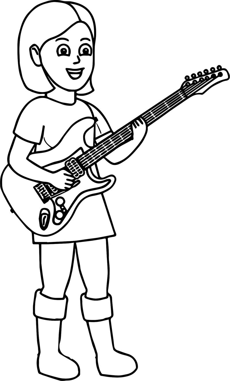Kids Playing Music Girl Playing The Guitar Coloring Page