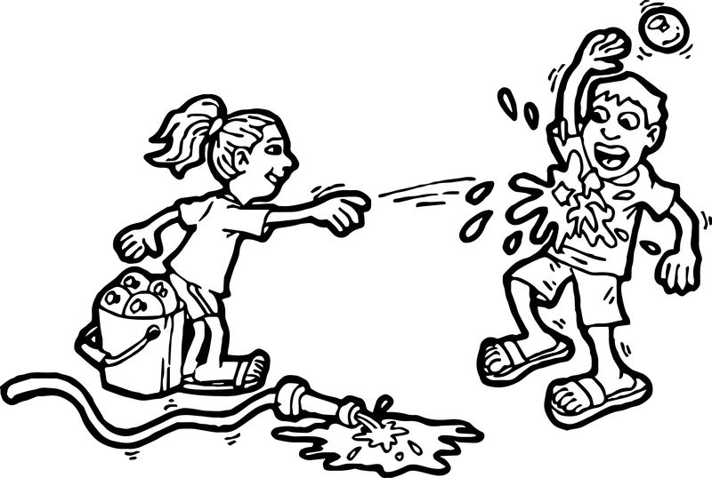 Kids Playing Summer Children Playing Children Activity Coloring Page