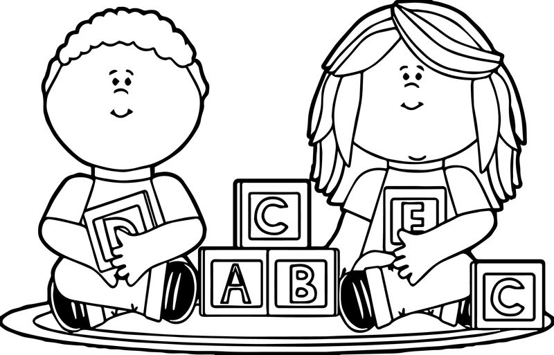 Kids Playing With Blocks Kids Coloring Page