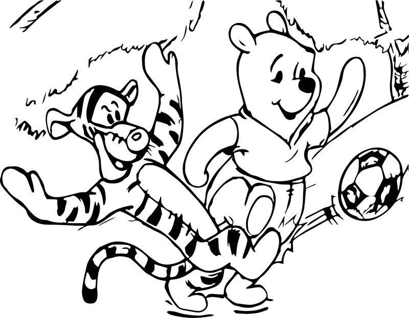 Kids Winnie The Pooh Tigger Playing Soccer Coloring Page