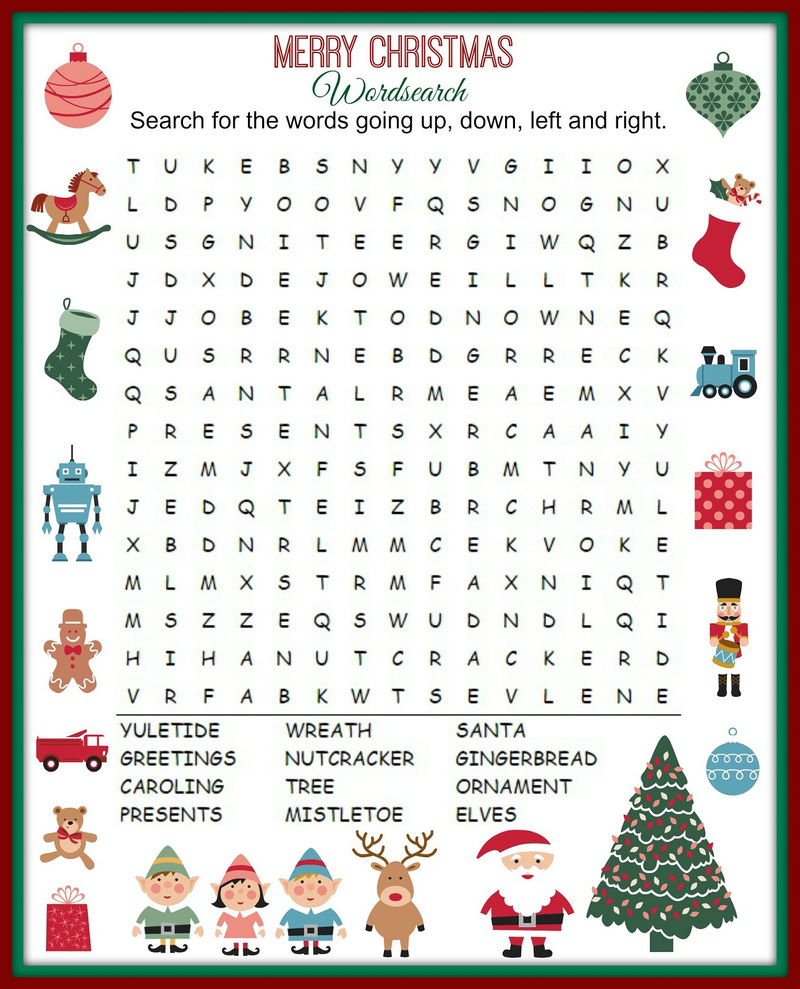 Kids Word Search Christmas