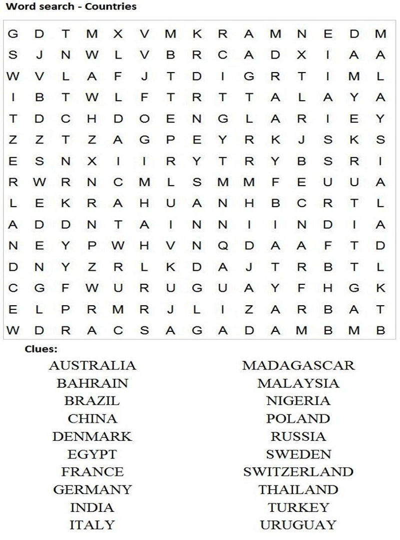 Kids Word Search Easy