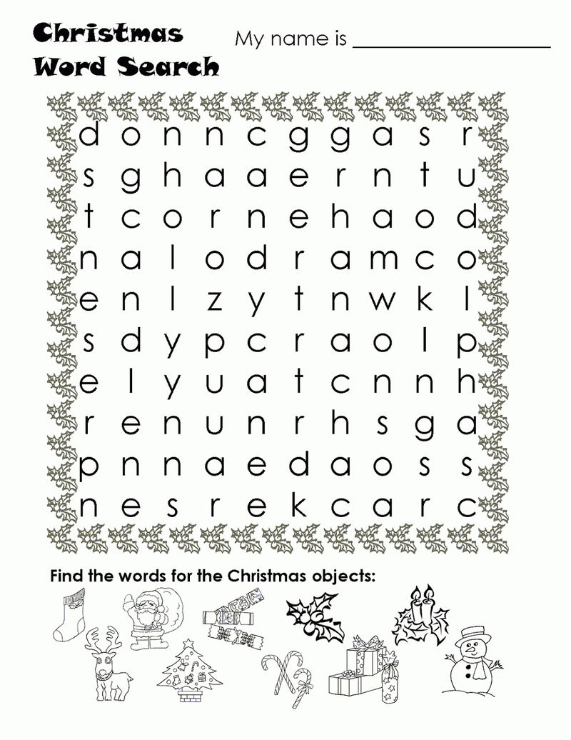 Kids Word Searches Christmas