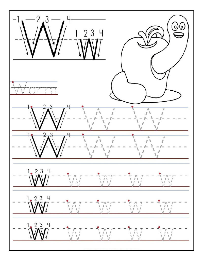 Kindergarten Alphabet Worksheets Letter W 1
