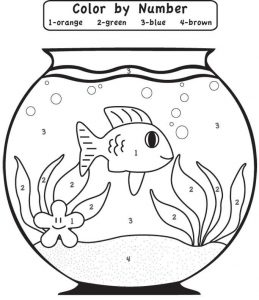 Kindergarten color by number fish bowl