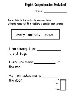 Kindergarten english comprehension worksheet