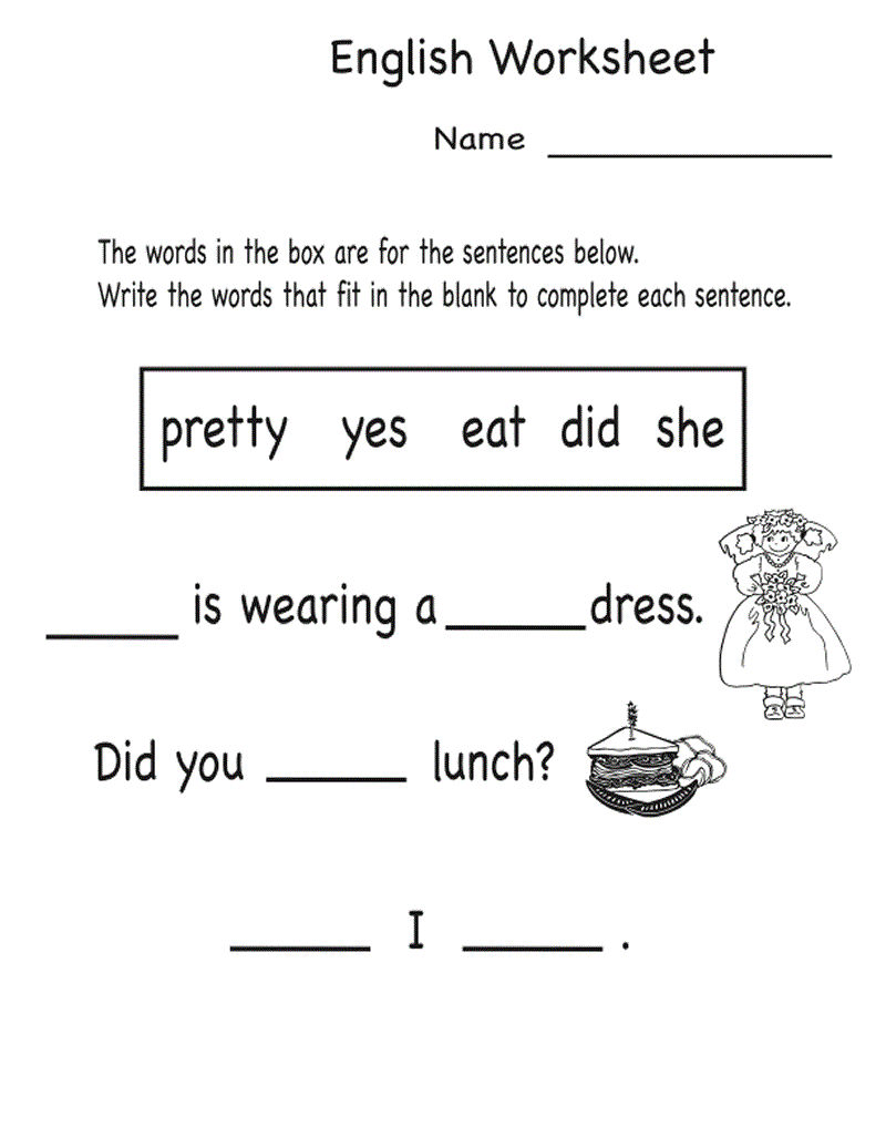 Kindergarten English Worksheets Free Printables Word