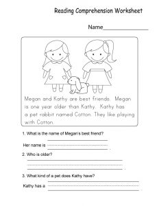 Kindergarten printable worksheets reading