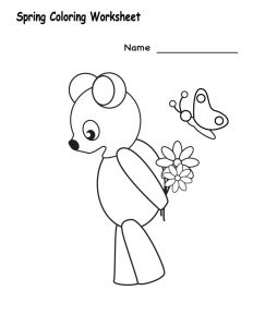 Kindergarten spring color worksheets simple 001