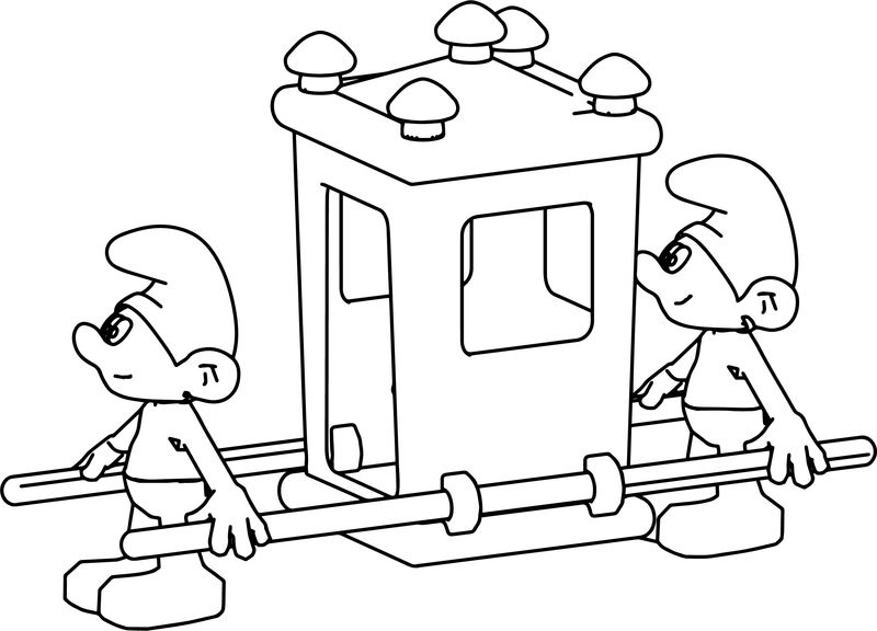King Smurf Carrying Vehicle Coloring Page