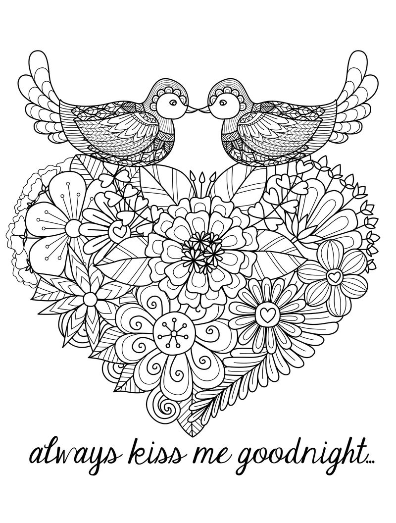 Kiss Me Goodnight Valentines Day Coloring Pages For Adults