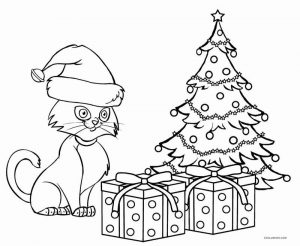 Kittys christmas presents coloring page