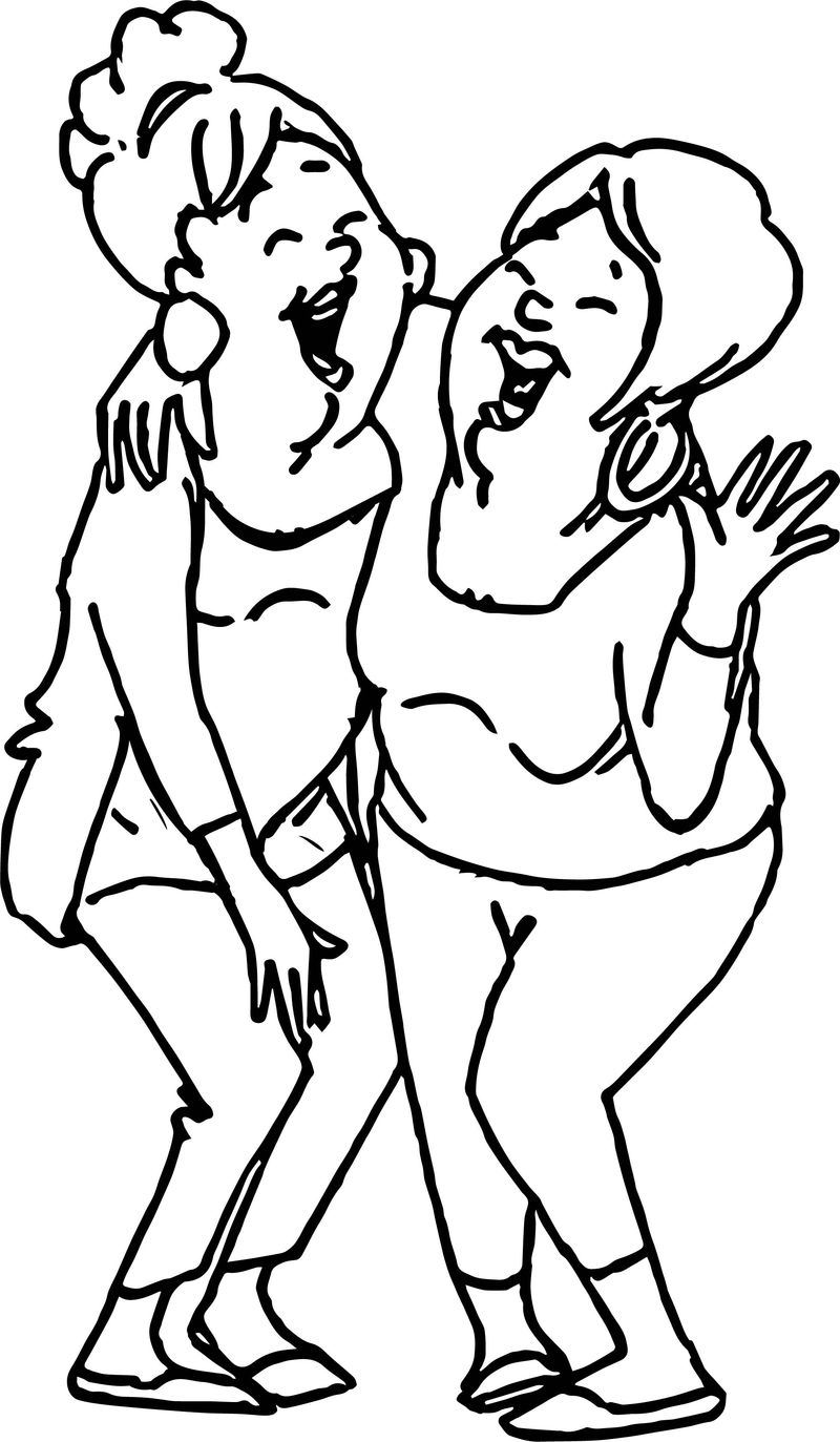 Laugh Girls Coloring Page