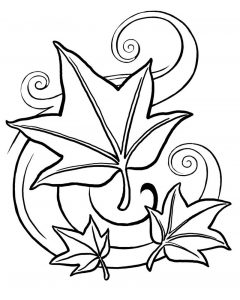 Leaf coloring page fall