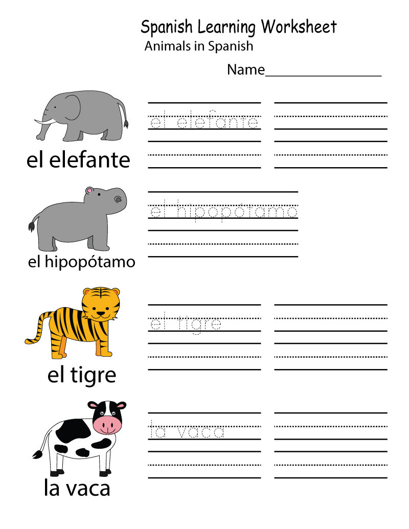 Learning Worksheets Spanish