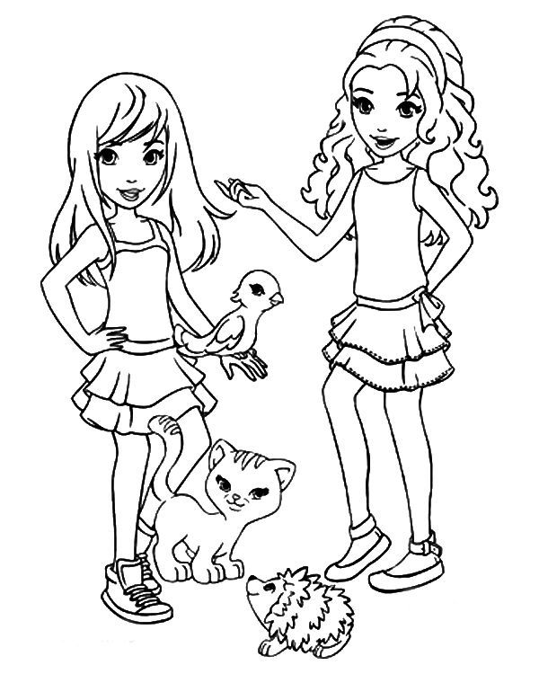Lego Friends And Animals Coloring Page