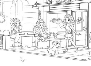 Lego friends outdoor cafe coloring page