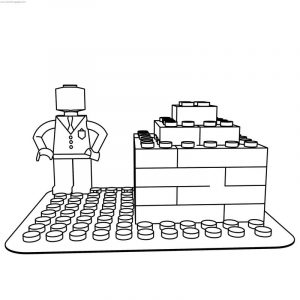 Lego man block coloring page
