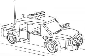 Lego police car coloring pages