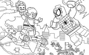 Lego spiderman green goblin scene coloring page