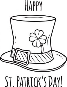 Leprechaun hat st patricks day coloring pages