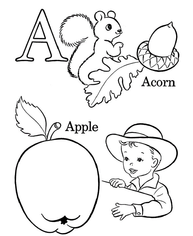 Letter A For Kids To Color 001
