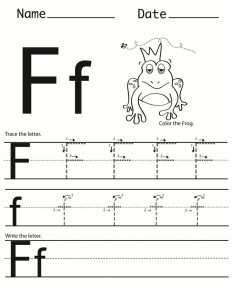 Letter f worksheet tracing